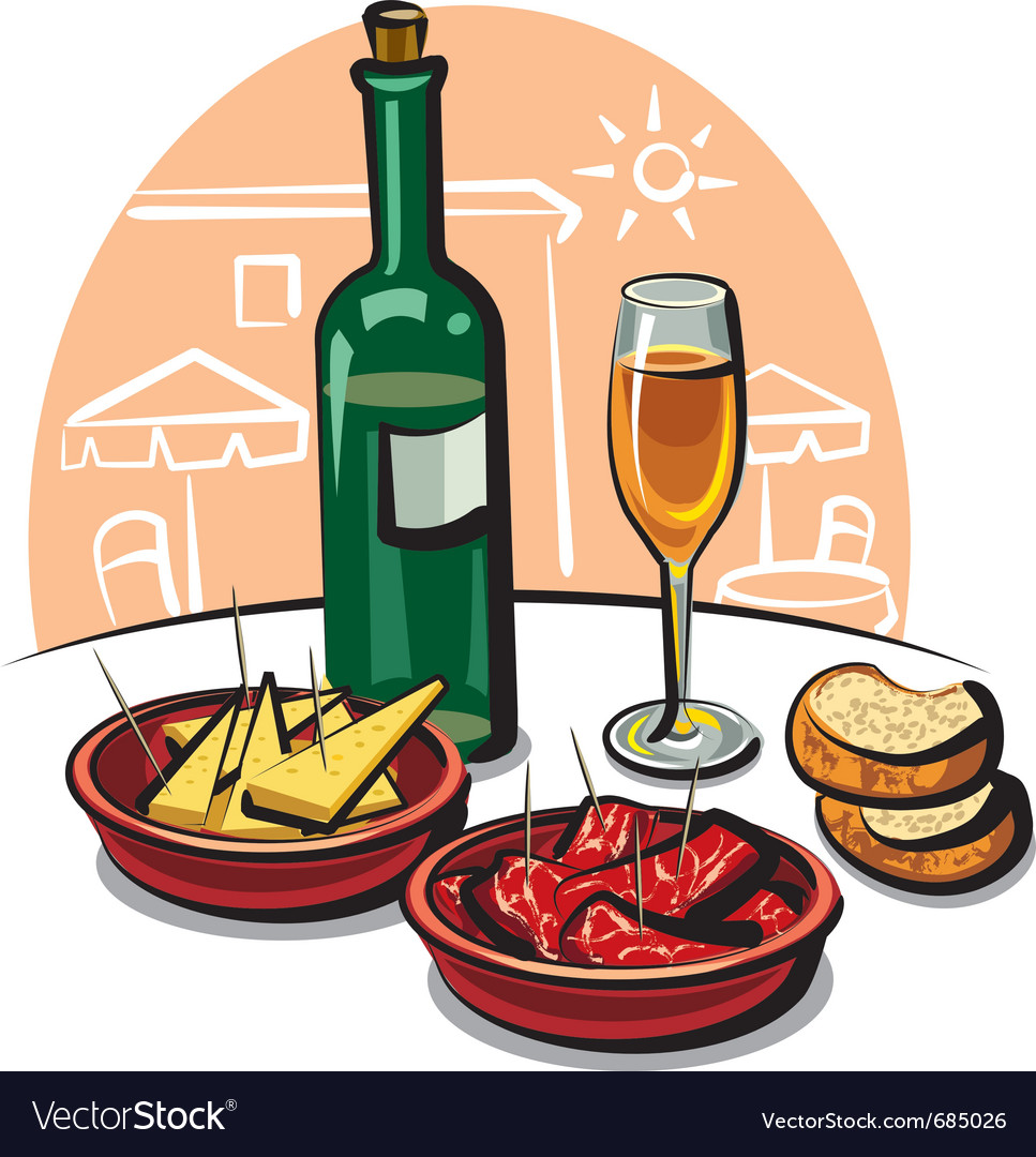 Spanish appetizers and wine vector | Price: 3 Credit (USD $3)
