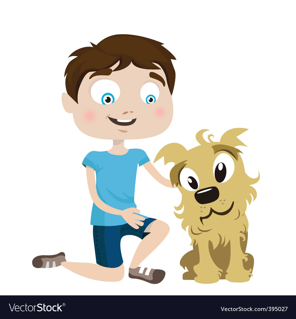 Boy with dog vector | Price: 1 Credit (USD $1)