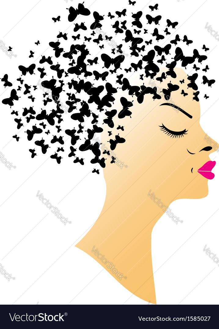 Butterfly hair vector | Price: 1 Credit (USD $1)