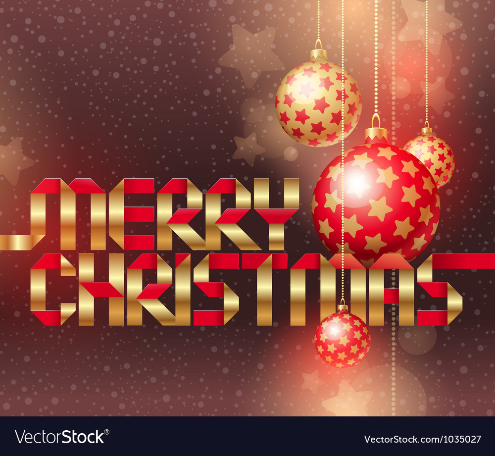 Christmas baubles and golden inscription vector | Price: 1 Credit (USD $1)