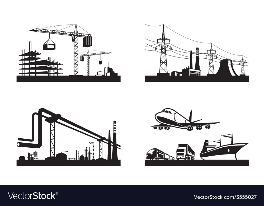 Different types of industries vector | Price: 1 Credit (USD $1)