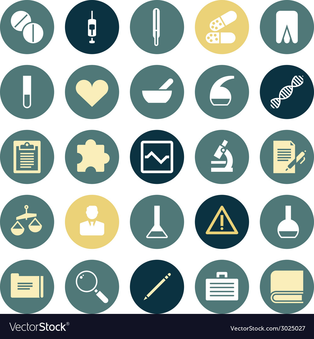 Flat design icons for medical science vector | Price: 1 Credit (USD $1)