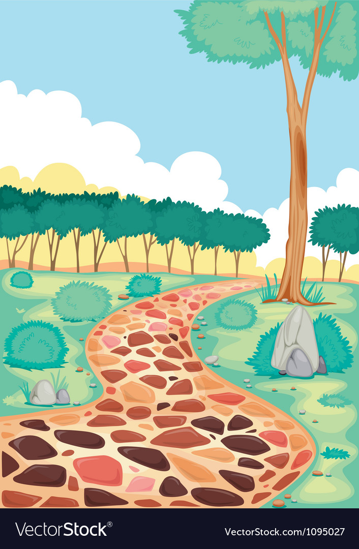 Landscape with coloured tiled road vector | Price: 1 Credit (USD $1)