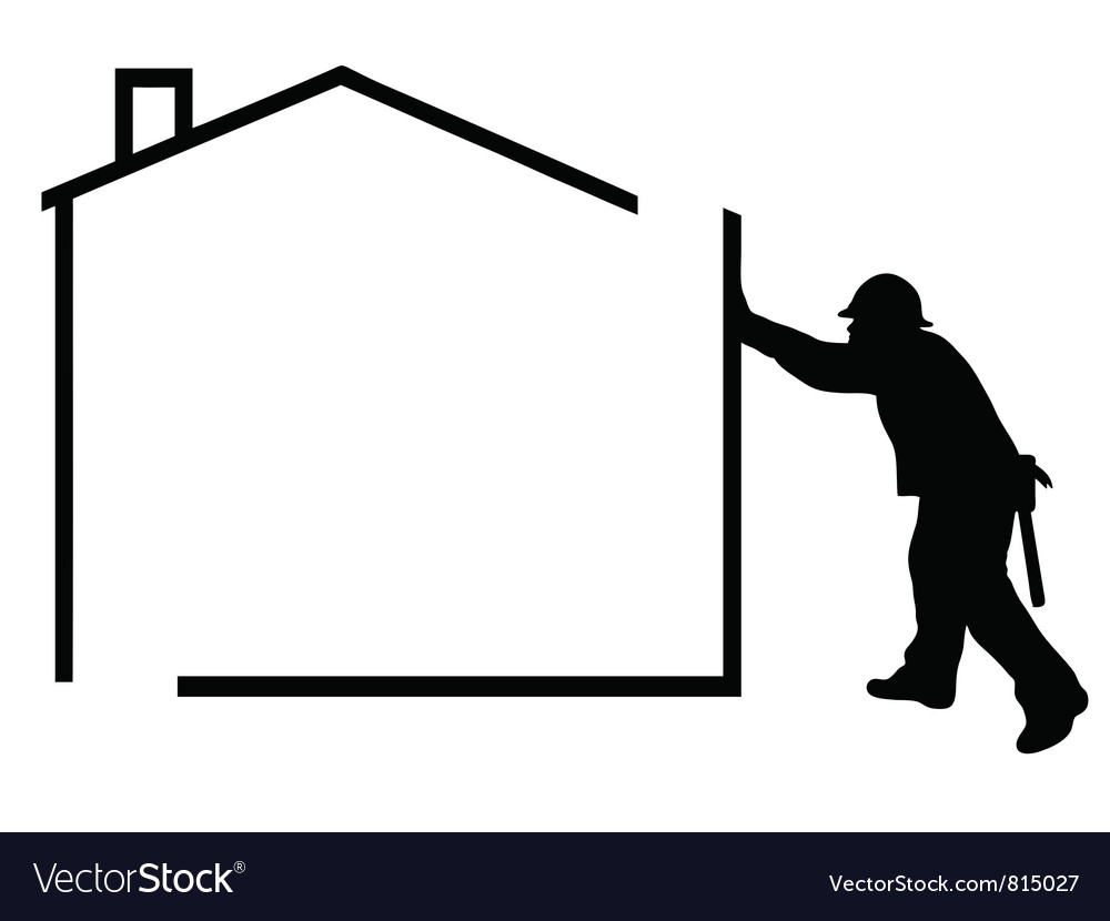 Man building a house vector | Price: 1 Credit (USD $1)