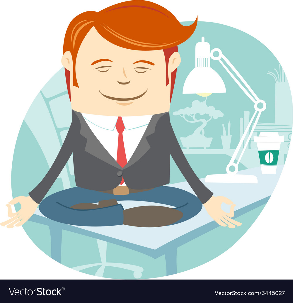 Office man meditating on his working desk vector | Price: 1 Credit (USD $1)