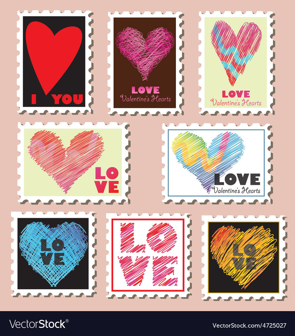 Set of valentines day postage stamps vector | Price: 1 Credit (USD $1)