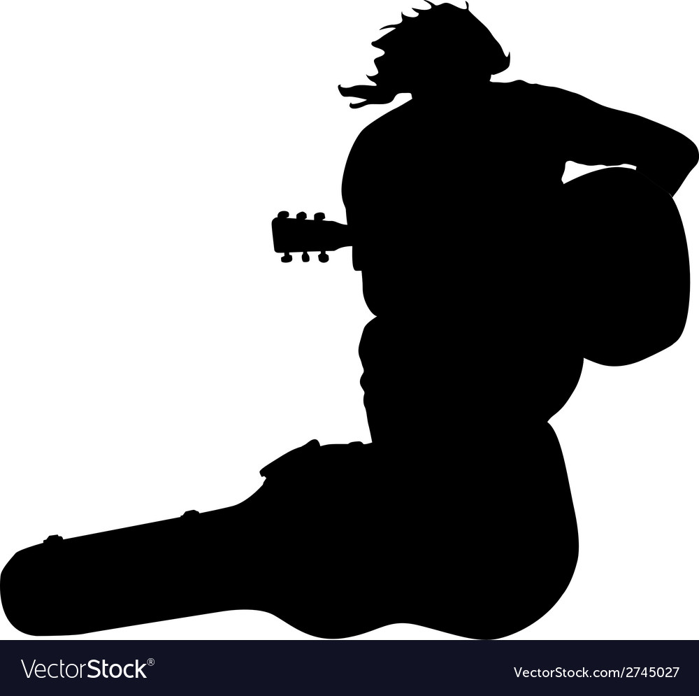 Silhouette musician guitar player sitting on the vector | Price: 1 Credit (USD $1)