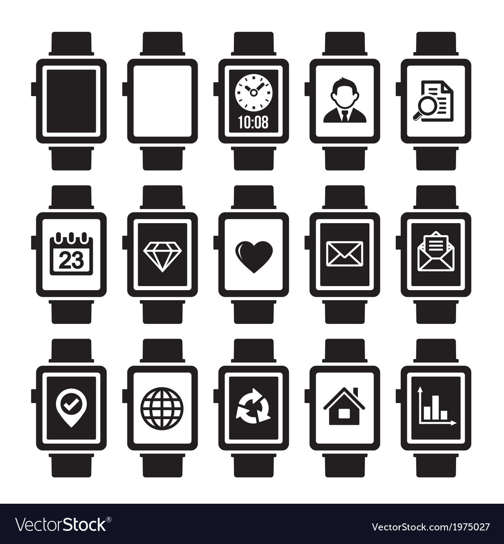 Smart watch icon set vector | Price: 1 Credit (USD $1)