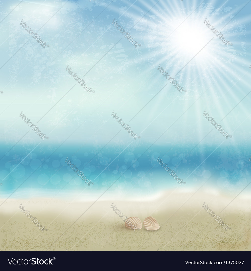 Vintage beautiful seaside background vector | Price: 1 Credit (USD $1)