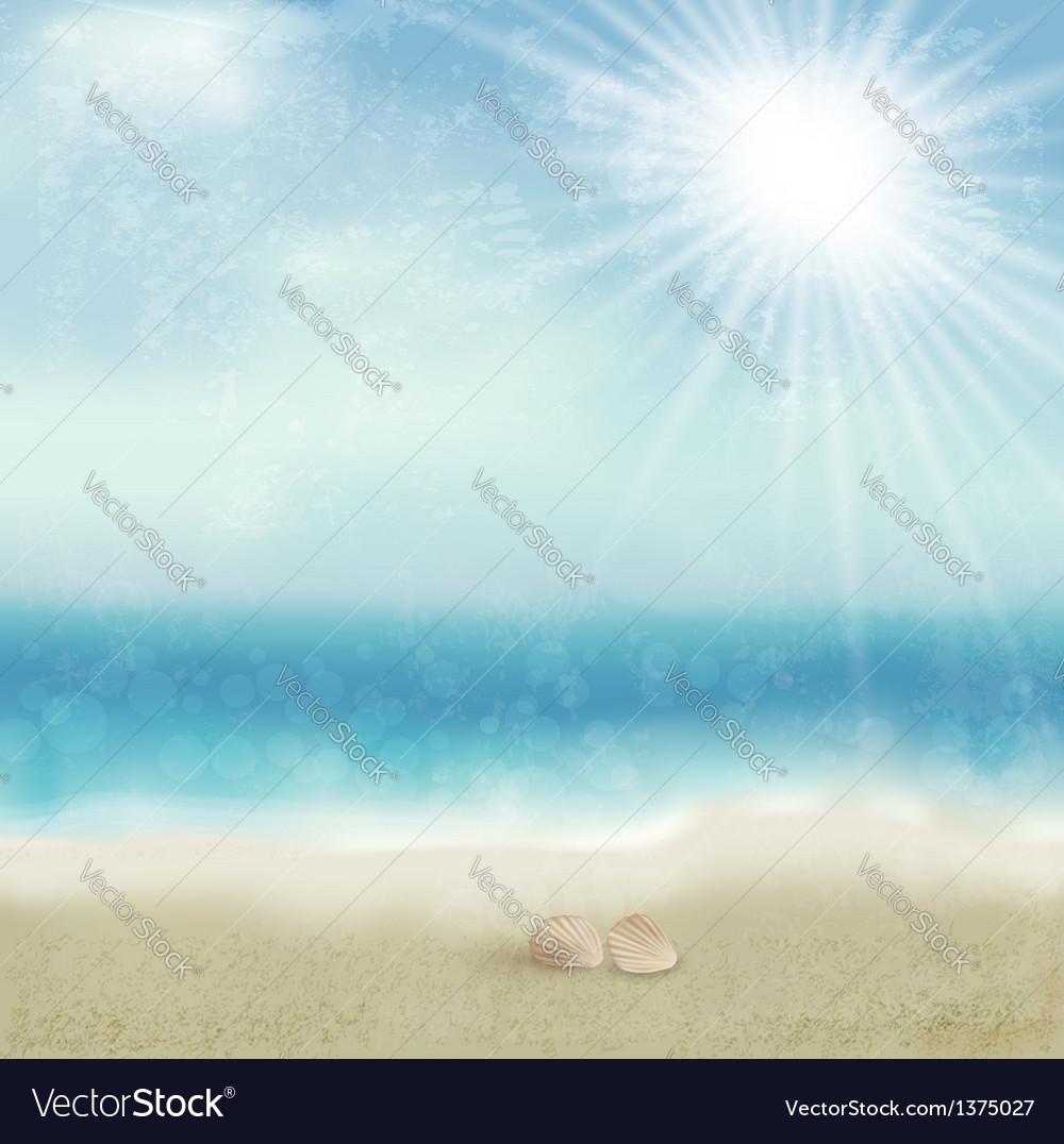 Vintage beautiful seaside background vector | Price: 1 Credit (USD $1)