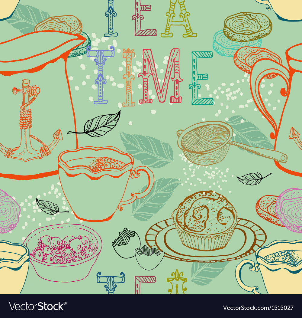 Vintage tea background vector | Price: 1 Credit (USD $1)