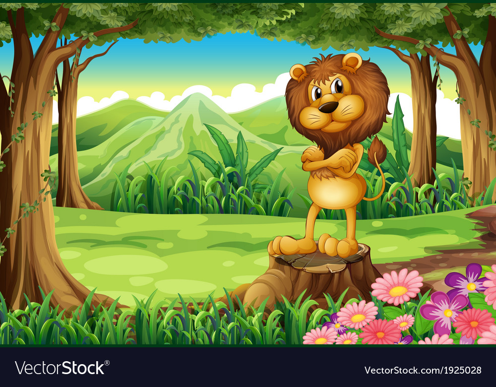 An angry lion standing above the stump at the vector | Price: 3 Credit (USD $3)