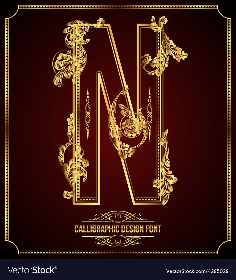 Calligraphic font letter n vector | Price: 3 Credit (USD $3)