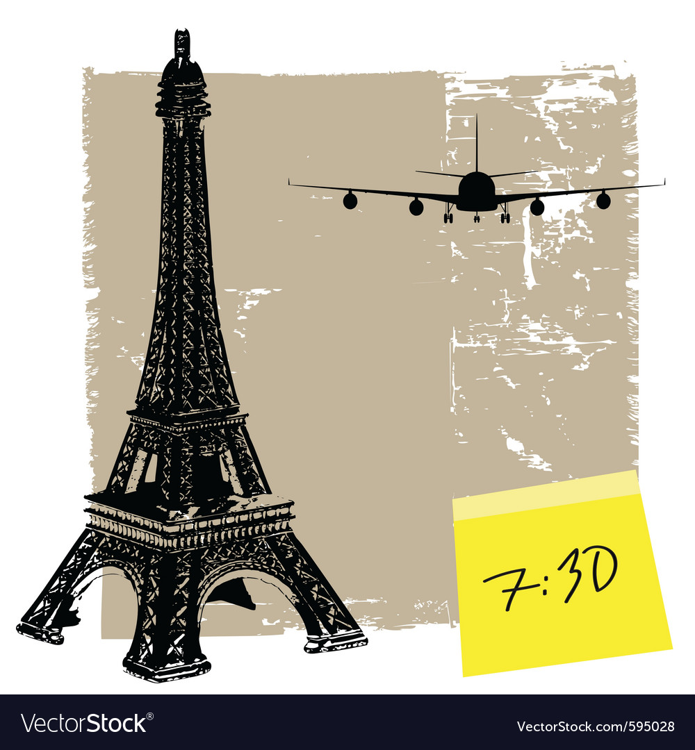 Eiffel tower and plane vector | Price: 1 Credit (USD $1)