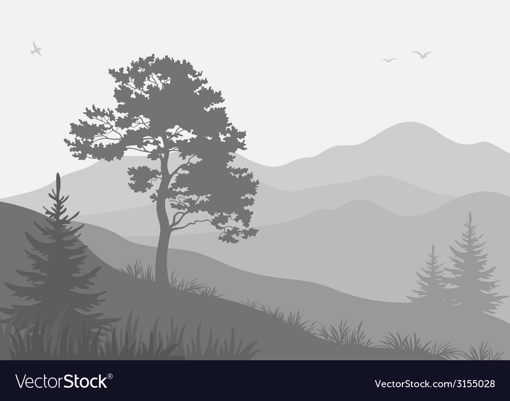 Mountain landscape with trees and birds vector | Price: 1 Credit (USD $1)