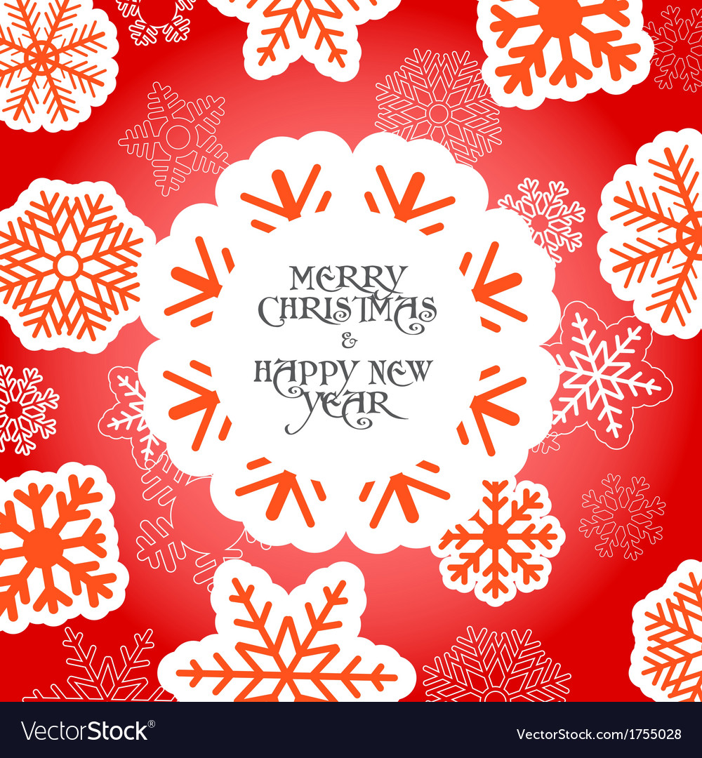 Red christmas greeting card with snowflakes vector | Price: 1 Credit (USD $1)