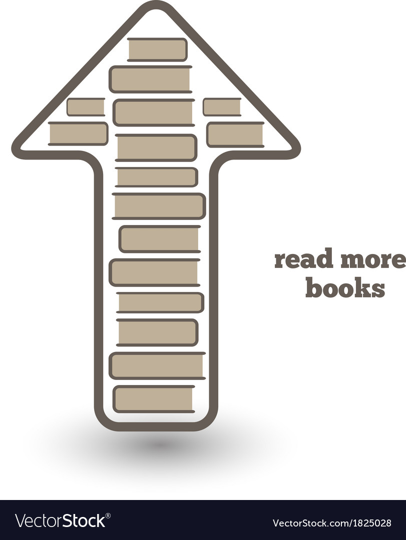 Reed more books icon with books and arrow up vector | Price: 1 Credit (USD $1)