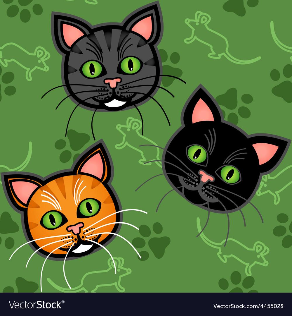 Seamless cartoon cat pattern vector | Price: 1 Credit (USD $1)