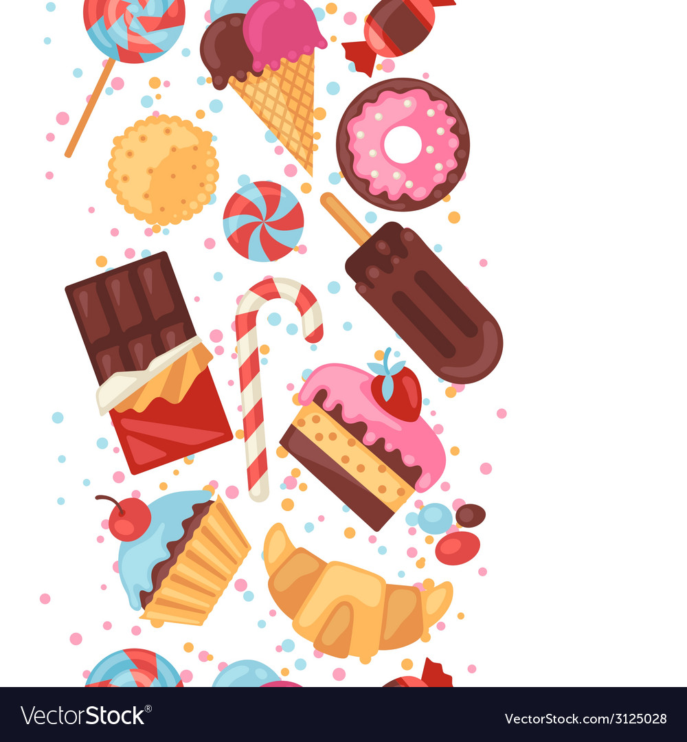 Seamless pattern colorful various candy sweets and vector | Price: 1 Credit (USD $1)
