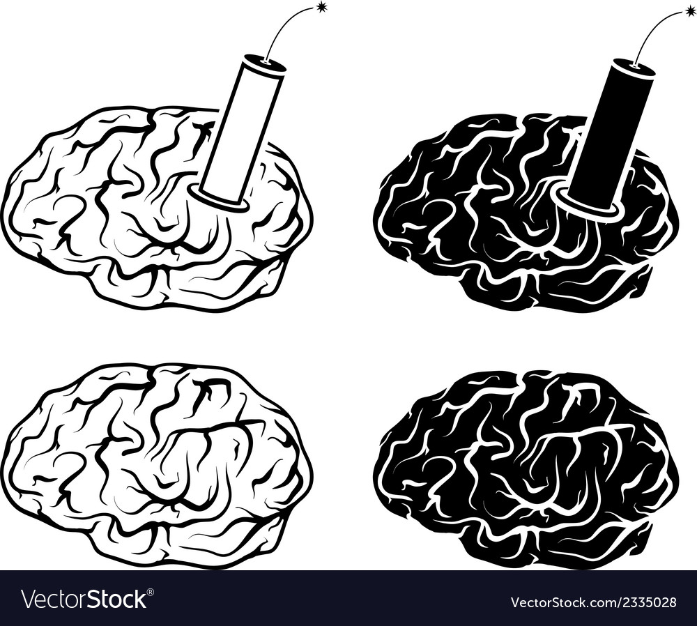 Set of brains and tnt vector