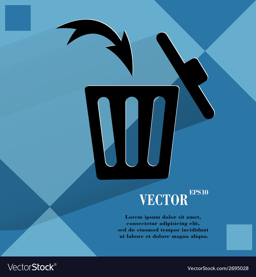Trash bin flat modern web button on a flat vector | Price: 1 Credit (USD $1)