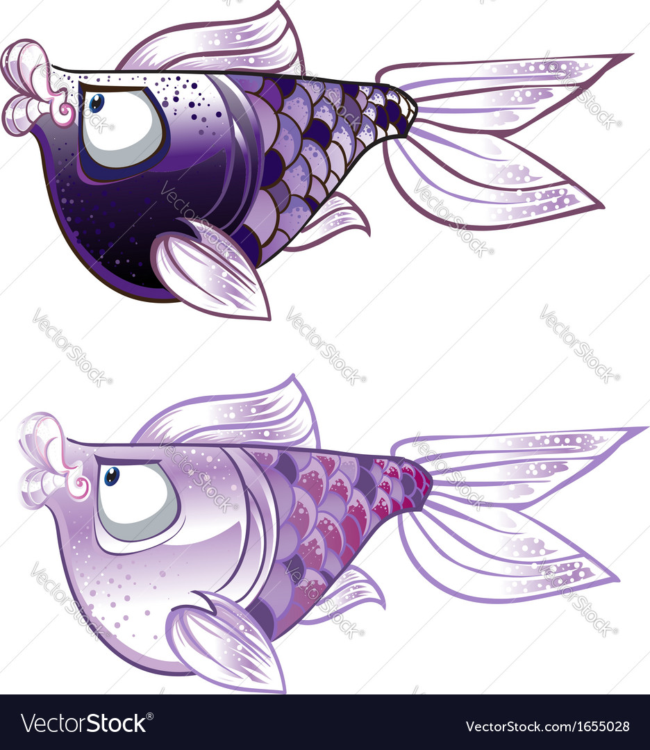 Violet two fishes vector | Price: 1 Credit (USD $1)