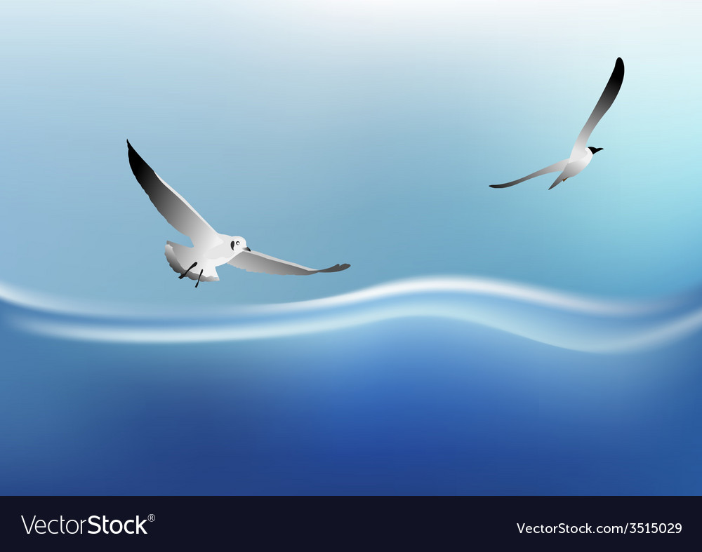 Bird on the sea vector | Price: 1 Credit (USD $1)