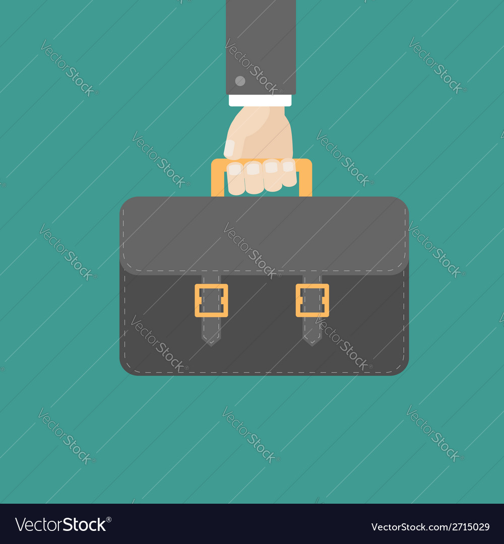 Businessman han holding black briefcase flat vector | Price: 1 Credit (USD $1)