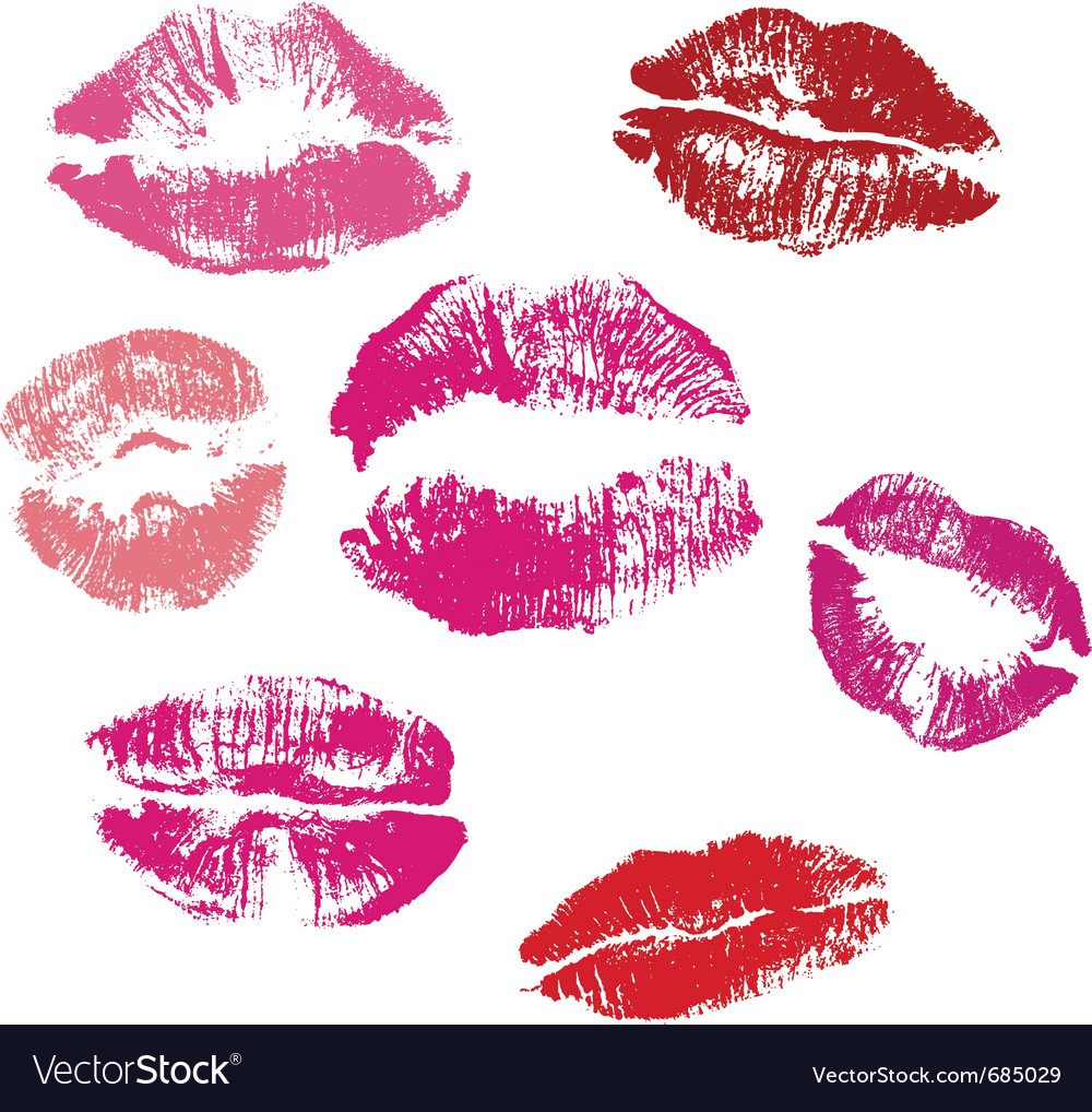 Collection of lips kiss print vector | Price: 1 Credit (USD $1)