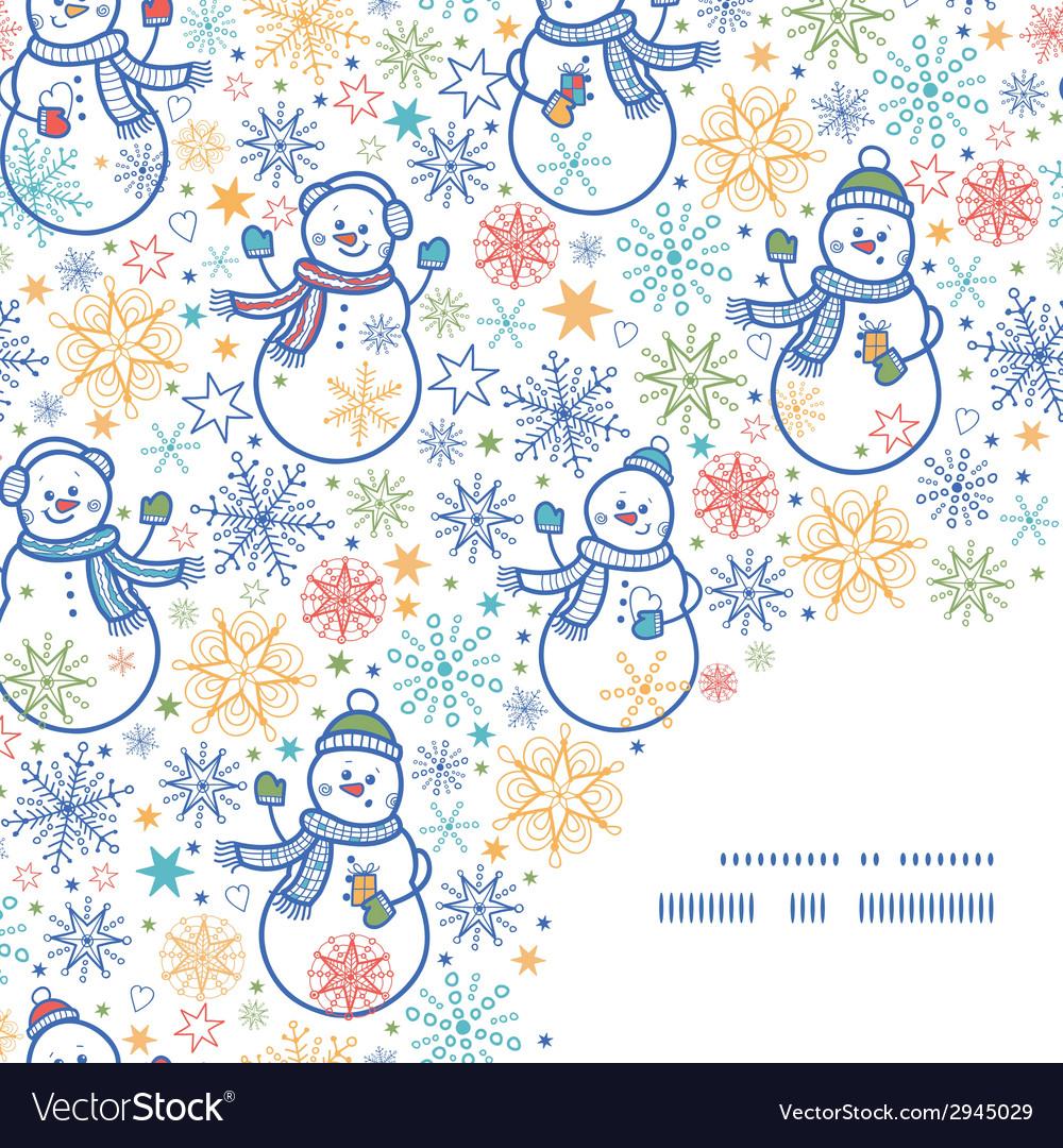 Cute snowmen frame corner pattern background vector | Price: 1 Credit (USD $1)