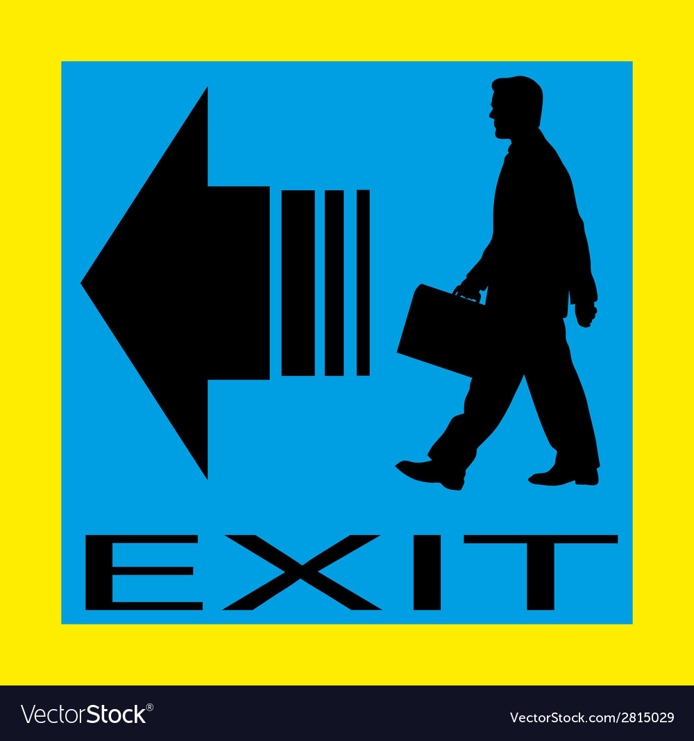 Exit emergency sign door with human figure label vector | Price: 1 Credit (USD $1)