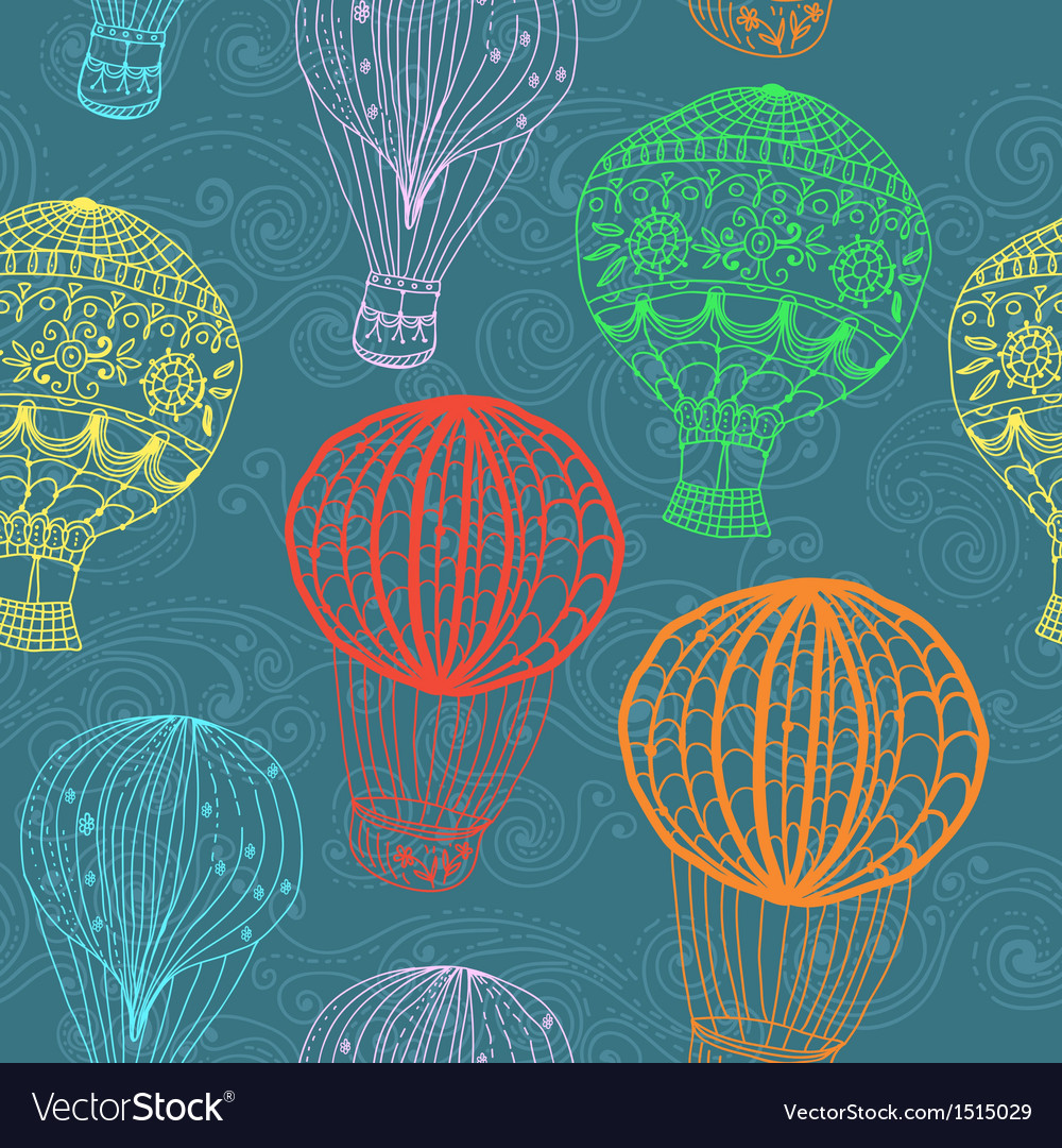 Hot air balloon in sky seamless background vector | Price: 1 Credit (USD $1)