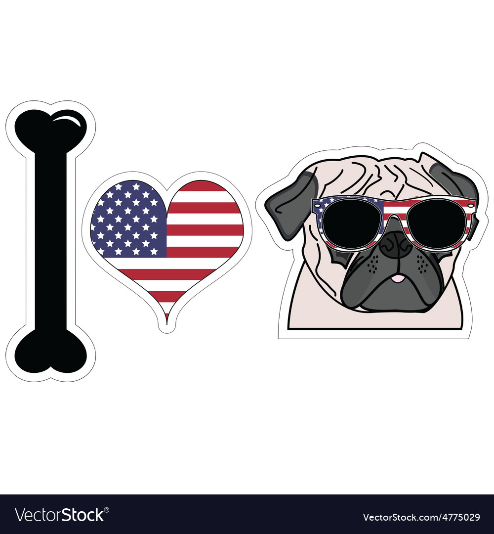 I love pug with american symbols vector | Price: 1 Credit (USD $1)