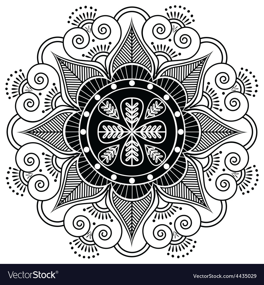 Indian pattern surounded with heart elements vector | Price: 1 Credit (USD $1)