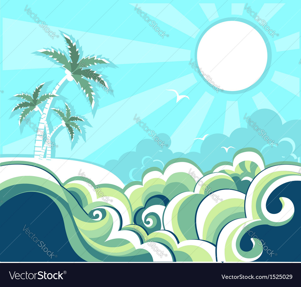Retro nature tropical seascape vector | Price: 1 Credit (USD $1)