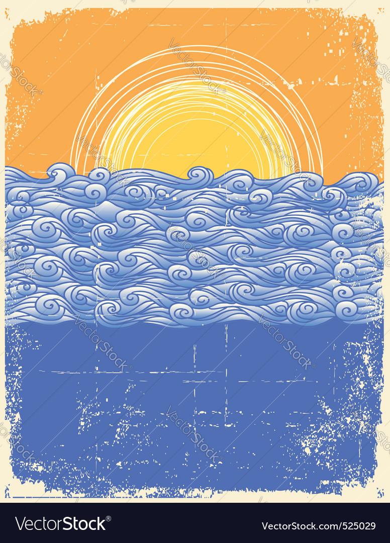 Vintage sea background vector | Price: 1 Credit (USD $1)