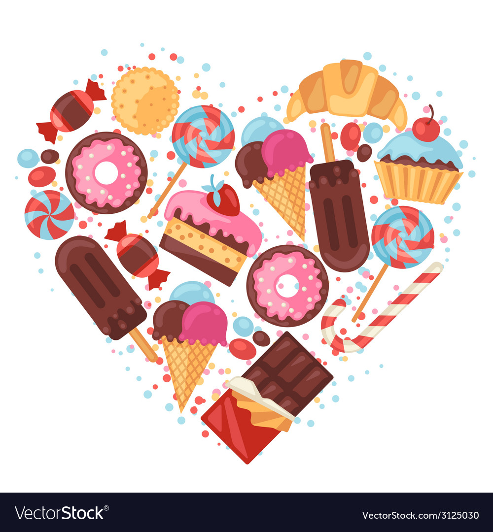 Background with colorful various candy sweets and vector | Price: 1 Credit (USD $1)