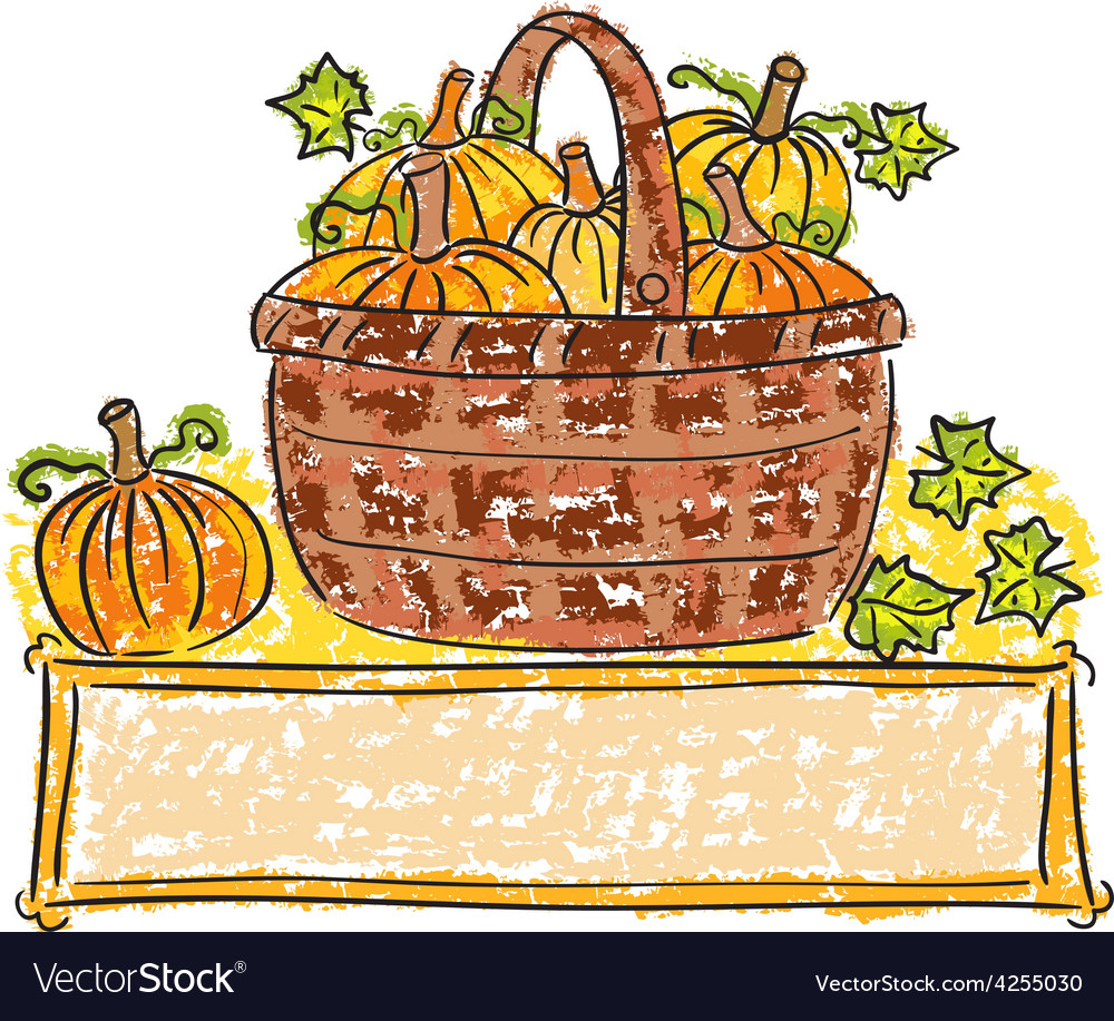 Basket with pumpkins vector | Price: 1 Credit (USD $1)