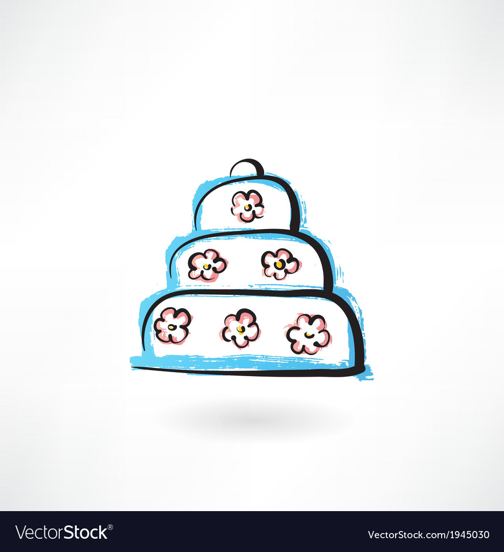 Big cake grunge icon vector | Price: 1 Credit (USD $1)
