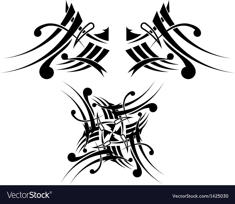 Black-white tribal tattoo design vector | Price: 1 Credit (USD $1)