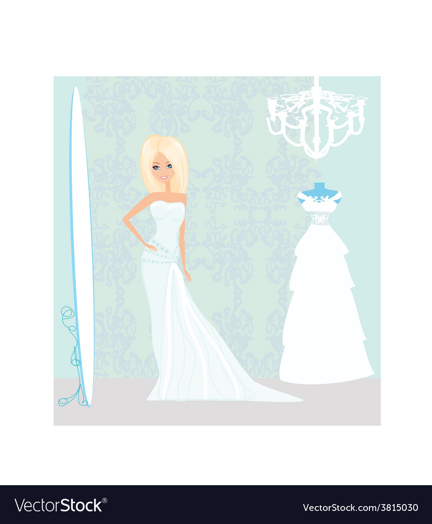 Bride at the salon in wedding dress vector | Price: 1 Credit (USD $1)