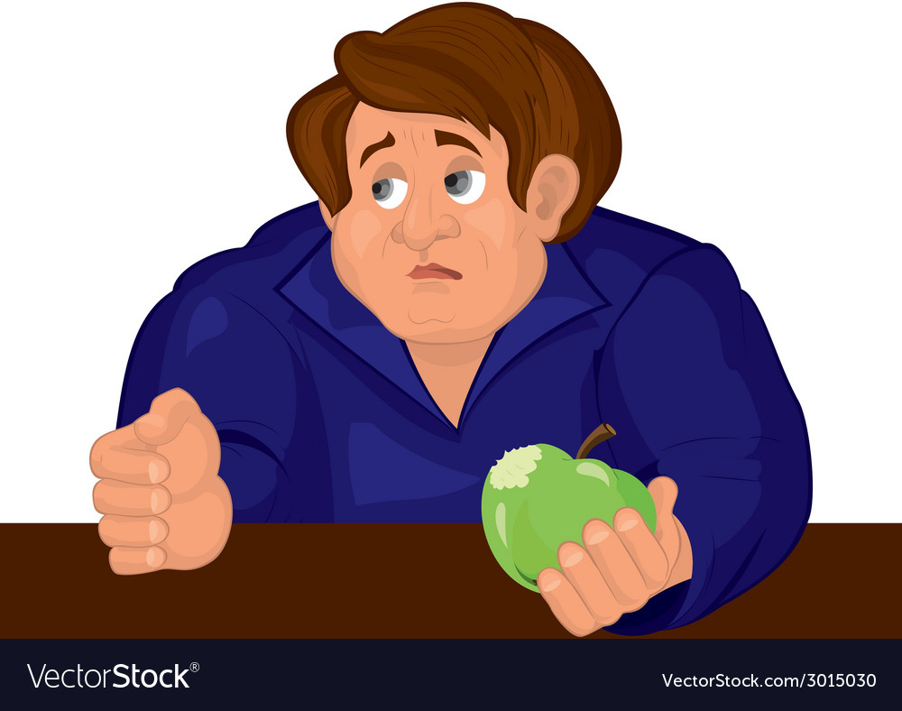 Cartoon sad man torso in blue top with apple vector | Price: 1 Credit (USD $1)