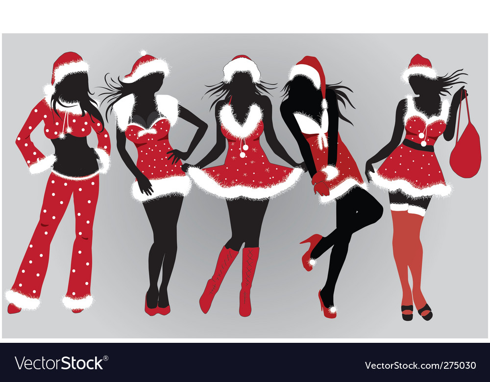 Set of beautiful christmas girls vector | Price: 1 Credit (USD $1)