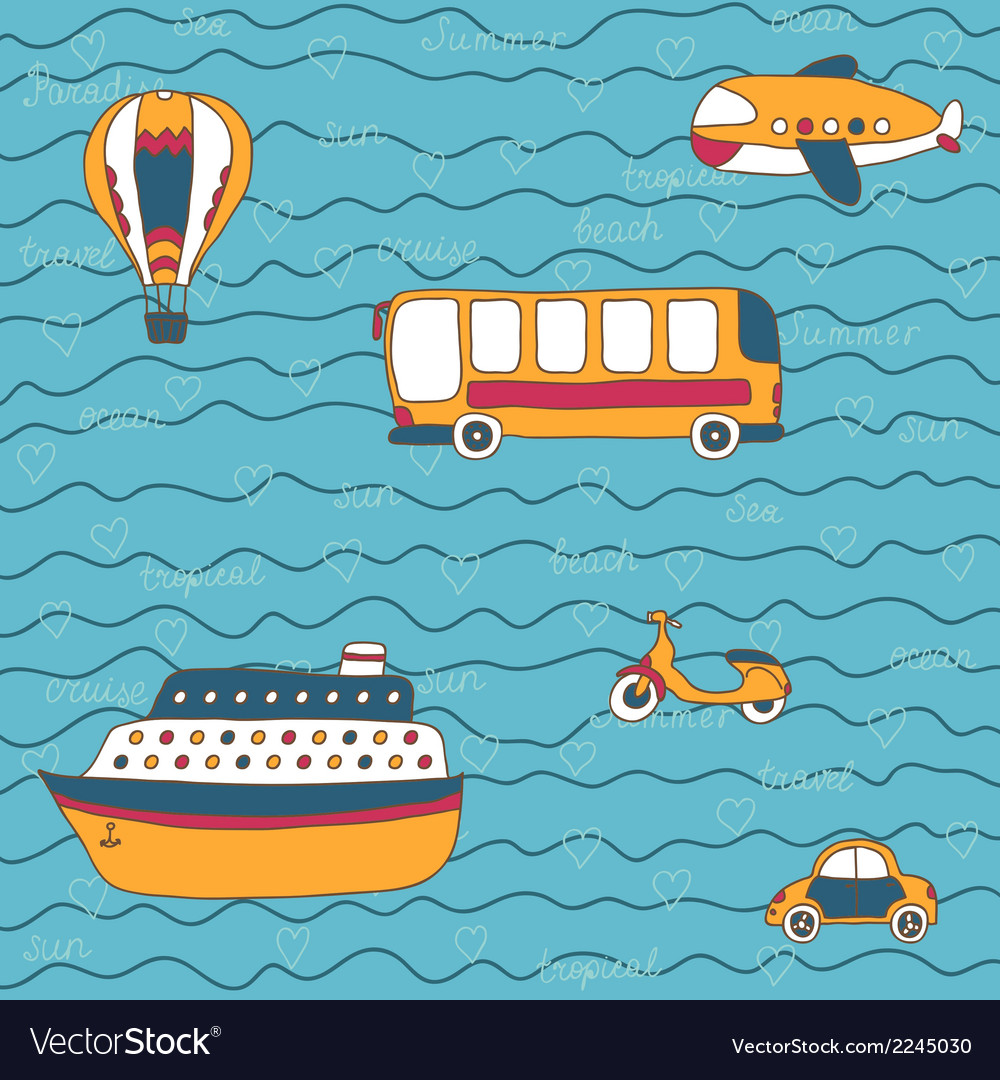 Summer travel design hand drawn transport vector | Price: 1 Credit (USD $1)