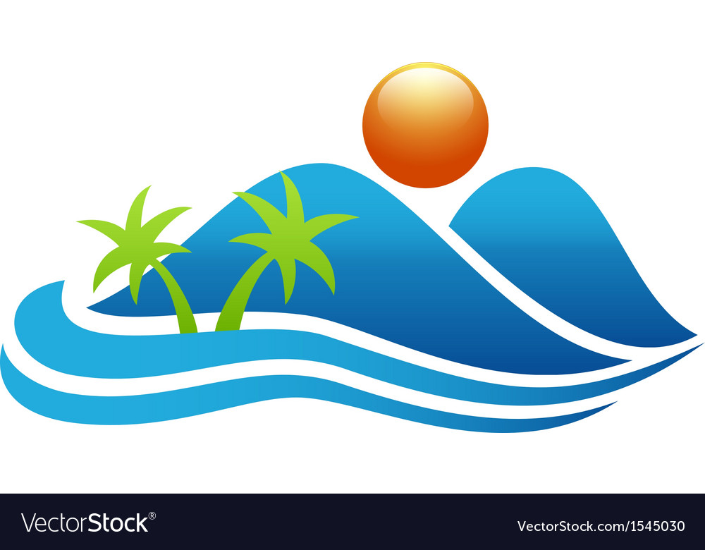 Tropical island icon vector | Price: 1 Credit (USD $1)