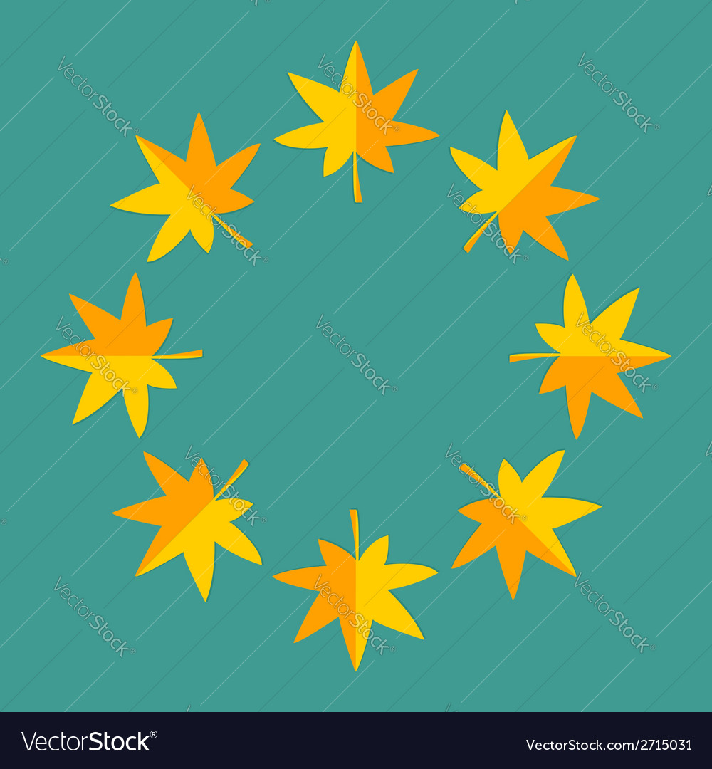 Autumn yellow maple leaf frame empty template vector | Price: 1 Credit (USD $1)