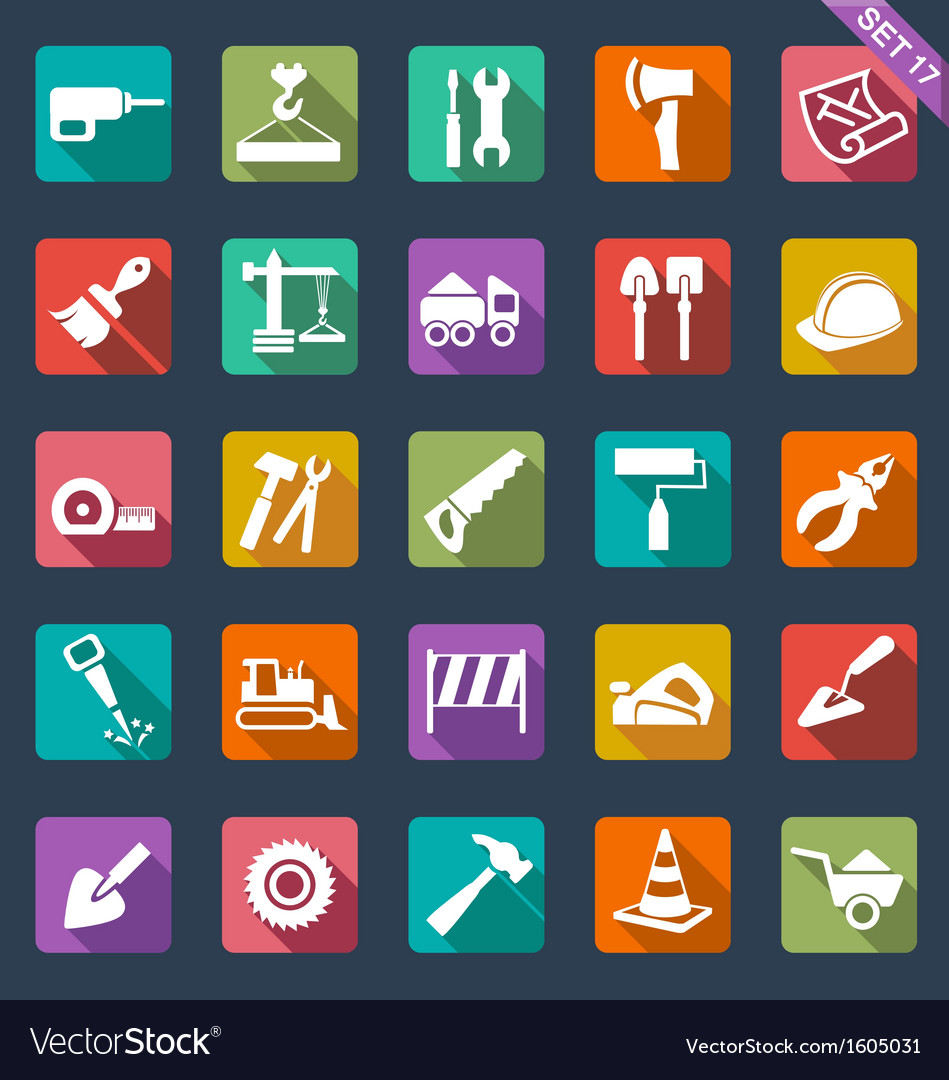 Building and tools icons vector | Price: 1 Credit (USD $1)