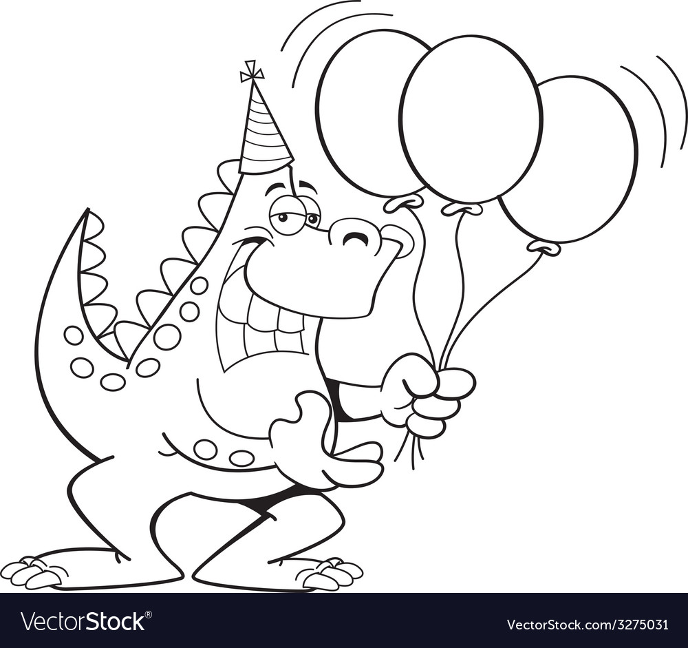 Cartoon dinosaur holding balloons vector | Price: 1 Credit (USD $1)