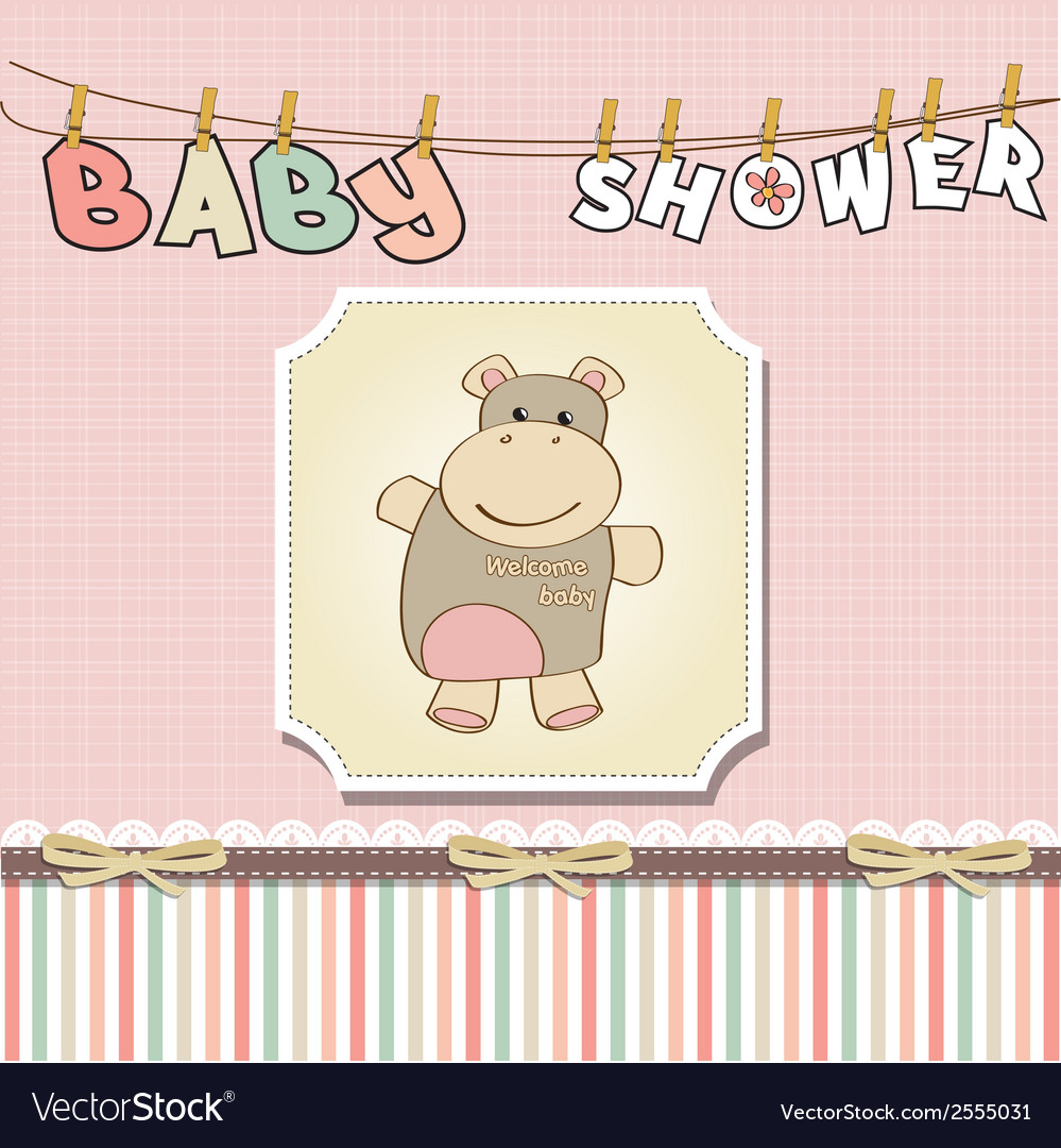Childish baby girl announcement card with hippo vector   Price: 1 Credit (USD $1)