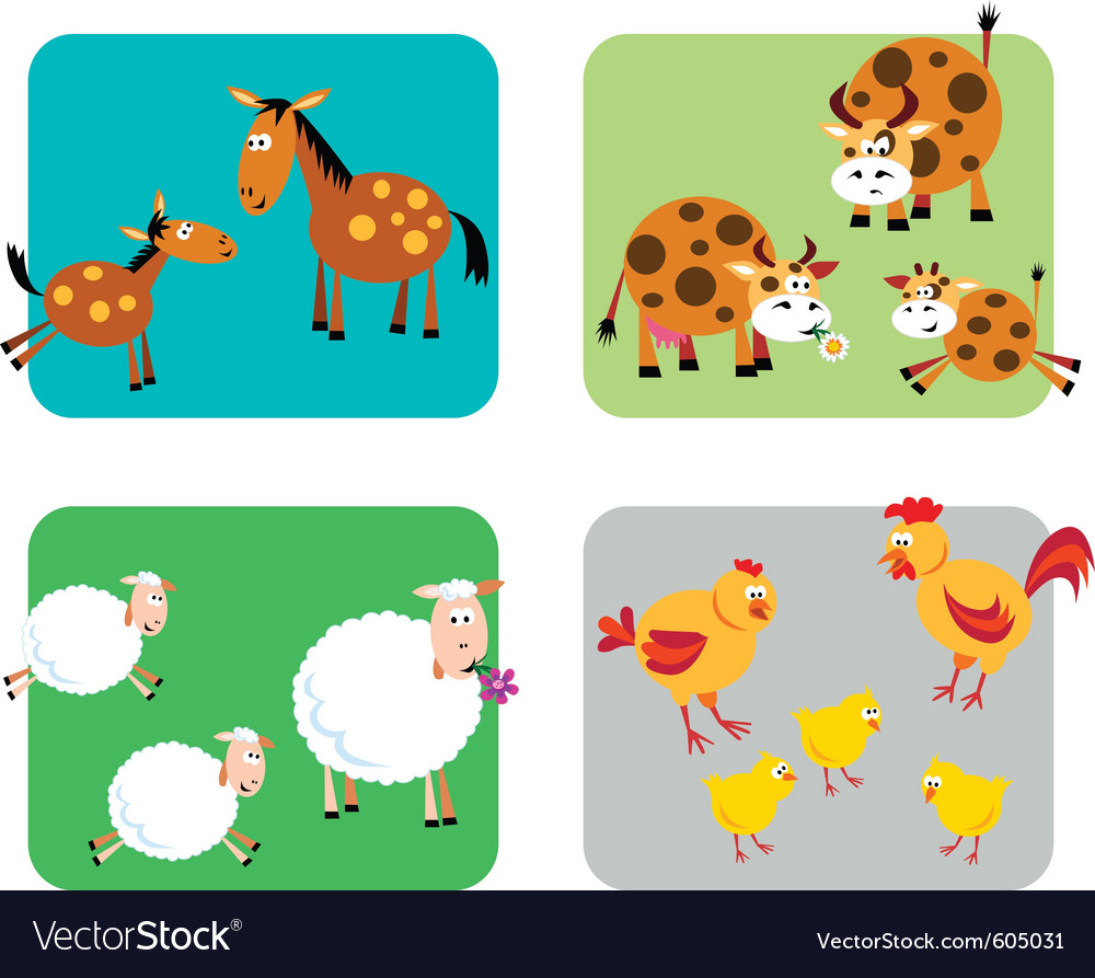Farm animal families vector | Price: 1 Credit (USD $1)
